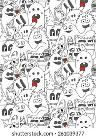 Doodle monsters seamless pattern. Monocromatic vector image