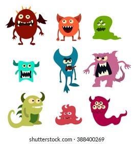 Doodle monsters set. Colorful toy cute alien monster. Vector EPS 10