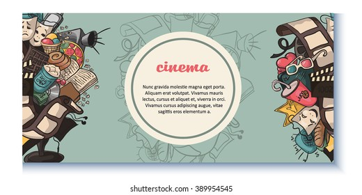 Doodle of a movie. Cinema. beautiful doodle about the movie. vector
