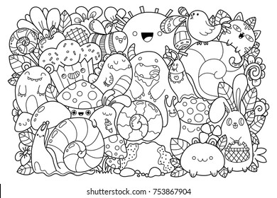 Doodle nature. Cute cartoons in kawaii style. Coloring book anti-stress
