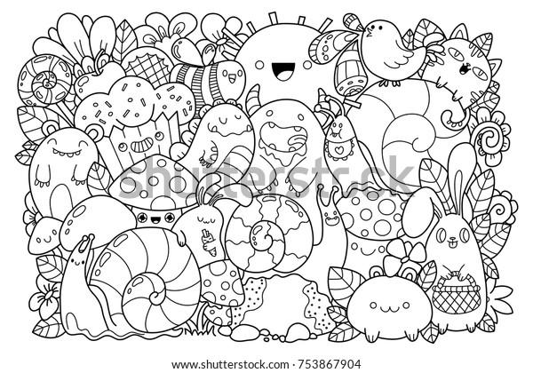 Image Vectorielle De Stock De Doodle Nature Belles Caricatures En