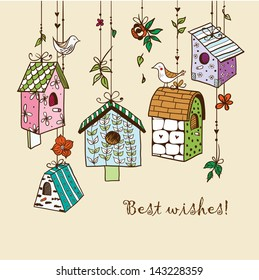 Doodle nesting boxes with birds.