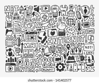 doodle network element,cartoon vector illustration