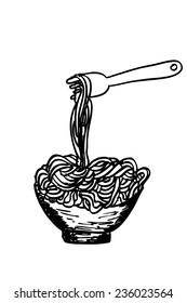 doodle Noodle at bowl and Fork