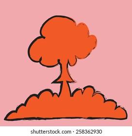 doodle nuclear mushroom cloud, vector illustration