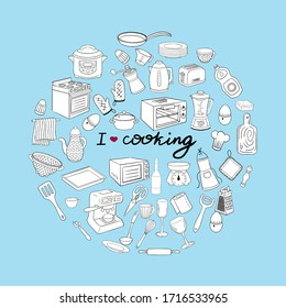 Doodle object tableware. A set of kitchen utensils and appliances in the shape of a circle. Template, banner for design on the theme of cooking. Round illustration with the lettering I love cooking.