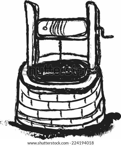 Doodle Old Water Well Stock Vector Royalty Free 224194018