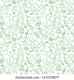Doodle on the subject of Ayurveda and health. Seamless pattern.
