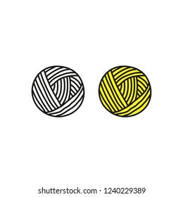Doodle outline and colored ball of yarn isolated on white background.