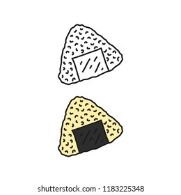 Doodle outline and colored onigiri sushi isolated on white background.