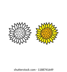 Doodle outline and colored sunflower icons isolated on white background.