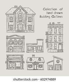 Doodle outline hand drawn buildings, houses, homes and public buildings vector illustrations