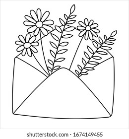 Doodle outline vector illustration Of envelope with flowers.  Cute  spring doodle. Black and white line art.  Coloring page for children. Simple line art