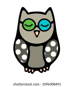 Doodle owl bird with closed eyes in glasses. Cute little bird drawing in children style. Colorful print with polka dot pattern on the wings.