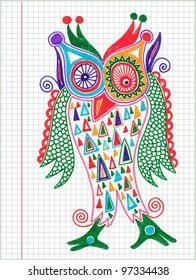 doodle owl marker drawing