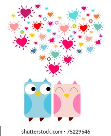 Doodle owls in love with a big heart