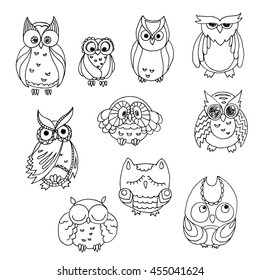 Doodle owls set. Vector furry bird collection.