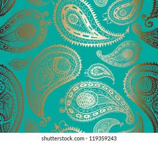Doodle paisley seamless pattern.