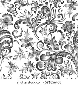 Doodle paisley seamless pattern. Gradient floral elements on white background. Watercolor imitation. One color print
