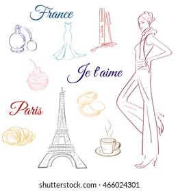 Doodle Paris France Eiffel tower fashionable women dress, clothes, accessories,symbol