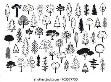 doodle park forest conifer abstract silhouettes outlined trees in black color collection set