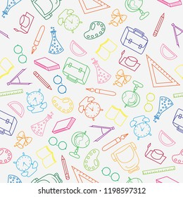 Doodle pattern back to school and education with color thin line icons school supplies on white background.
