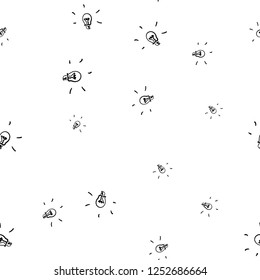 Doodle pattern with black seamless pattern on light background. Light lamp icon vector. Light lamp sign icon. Seamless background. Seamless pattern