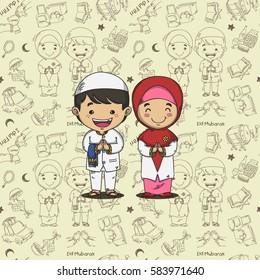 DOODLE PATTERN EID THEMED idul fitri is eid mubarak greeting in indonesian transleted