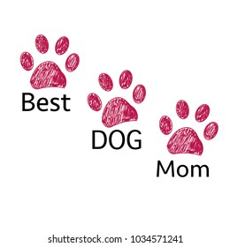 Doodle Paw print. ''Best dog mom'' text. Happy Mother's Day greeting card