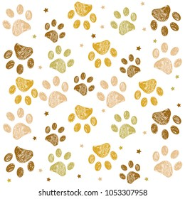 Doodle Paw prints golden colored background
