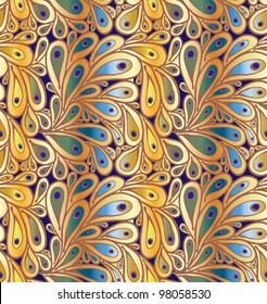 """Doodle peacock feathers seamless pattern in """"wild"""" gradient colors"""