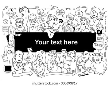 Doodle People Frame. Funny Sketch for Your Design. Vector Illustration for Adult Coloring Test