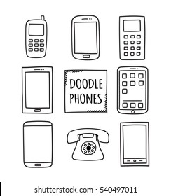 Doodle Phones Set. Old, modern, smartphones - isolated vector illustration