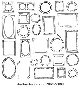 Doodle photo frame. Hand drawn square oval picture frames, scrapbook scribble journaling borders. Retro vector sketch isolated frames