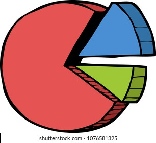 Doodle pie chart on a white background vector illustration