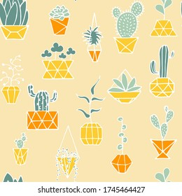 Doodle plant in faceted pot seamless pattern. Hand drawn leaves, succulents, cactus with poly yellow, orange flower pot. Cartoon home plants on light background. Cute polygonal interior illustration