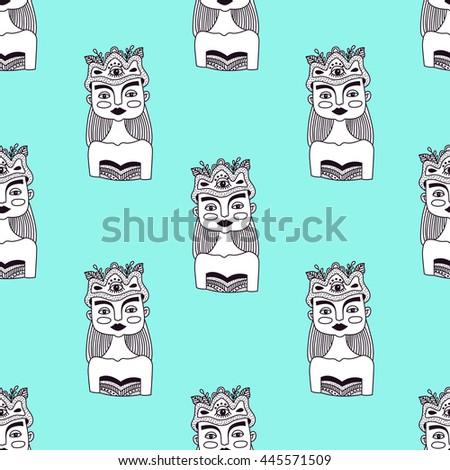 Doodle Portrait Artistic Representation Person Cartoon Stock Vector ...