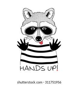 doodle portrait of raccoon in black thief mask, kid design