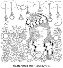 Doodle Portrait Young Lady. Knitted Hat, Scarf, Short Hair,  Smile. Women's Cold Weather Clothing. Stars, Moon, Snowflakes. Coloring Book Page for Adult and Children. New Year's Holidays. Christmas.