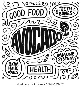 Doodle poster with Lettering. Natural food. Logo design. Sign banner for cooking, vector illustration. Diet menu. Organic raw vegan avocado