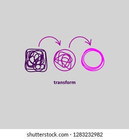 Doodle psychotherapy icon, therapy, abstract hand drawn symbol of problem solving, unraveling tangled tangle of problems, business thinking, strategy. Vector illustration