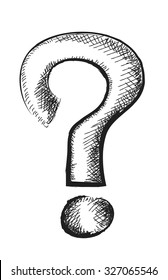 doodle question mark, vector illustration