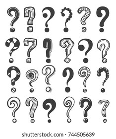 Doodle question marks. Hand drawn interrogation icons or sketch ask questions isolated on white background, vector illustration