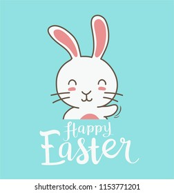doodle rabbit or easter greeting card