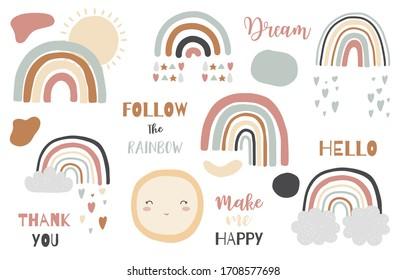 Doodle Regenbogen Objekt untergehen mit Sonne, Wolke, Regen. Illustration für Logo, Aufkleber, Postkarte, Geburtstagseinladung.Bearbeitbares Element.Vielen Dank und Folge dem Regenbogen