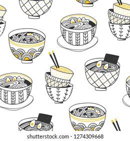 Doodle Ramen. Various noodle bowls. Hand drawn vector seamless pattern