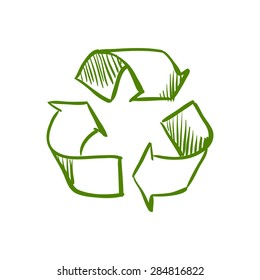 Doodle Recycle Symbol, excellent vector illustration, EPS 10