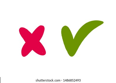 Doodle Red cross and green tick isolated on white background. Right and Wrong signs vector illustration. Yes and No symbols.