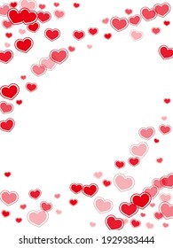 Doodle red hearts falling valentine background. Abstract February 14 backdrop. Bright hearts love pleasure symbols isolated on transparent background. Valentine's day cute decor.