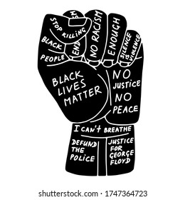 Doodle resist fist protest related icon, isolated on white background. Slogan - Black Lives Matter, No Racism, Stop Killing Black People, Defund The Police. Vector stock illustration for BLM poster.